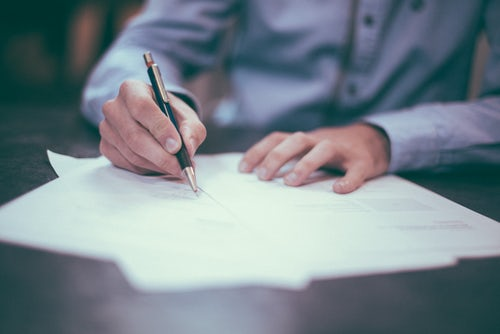 Person doing workplace document